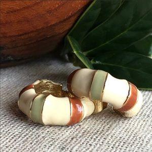 Vintage Cream/Green/Sienna Enamel Clip Earrings